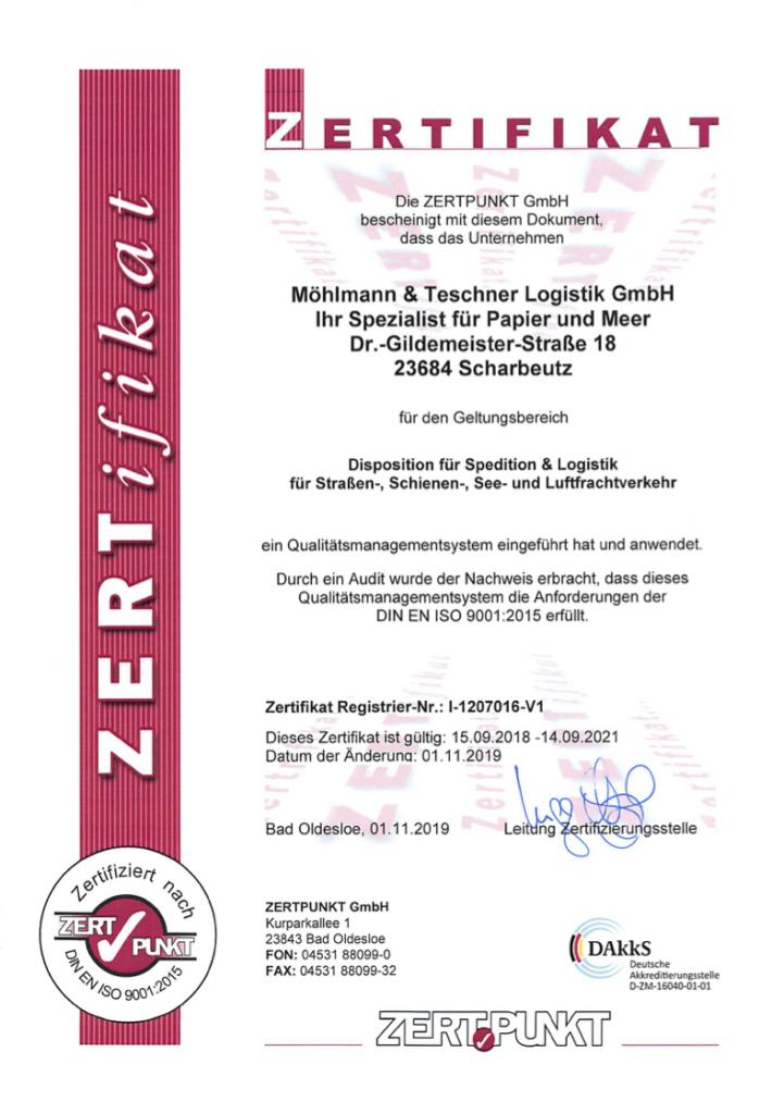 ISO Zertifikat Möhlmann 38 Teschner